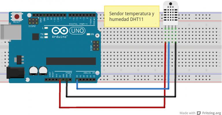 Montaje de un sensor DHT11 en una placa Arduino UNO