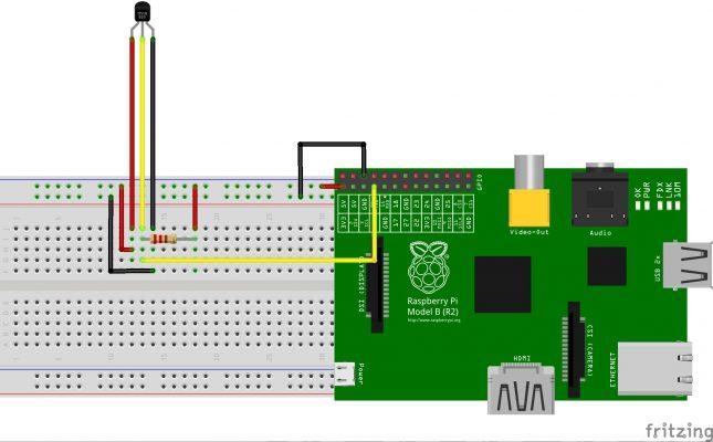 Esquema de montaje del sensor DS18B20 con un Raspberry Pi