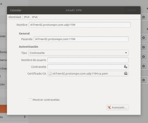 Configuración cliente VPN