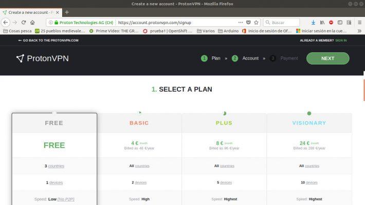 Registro en ProtonVPN